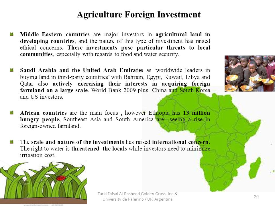 Agriculture Foreign Investment Middle Eastern countries are major investors in agricultural land in developing countries, and the nature of this type of investment has raised ethical concerns.