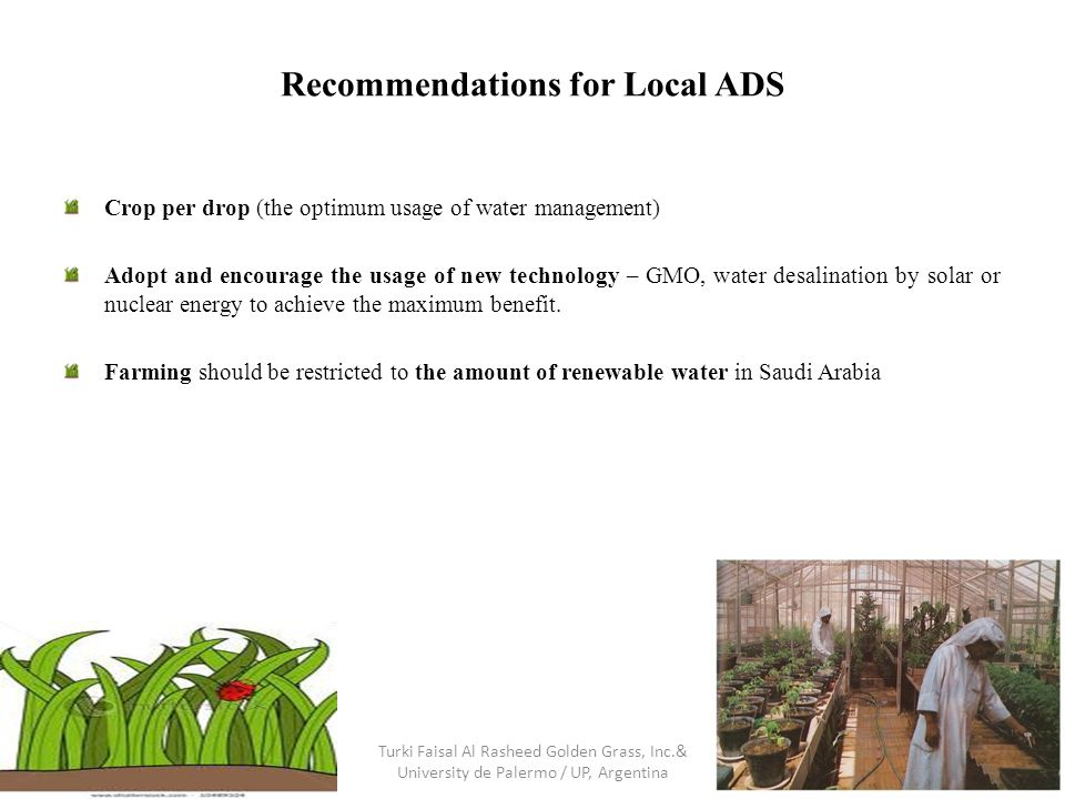 Recommendations for Local ADS Crop per drop (the optimum usage of water management) Adopt and encourage the usage of new technology – GMO, water desal