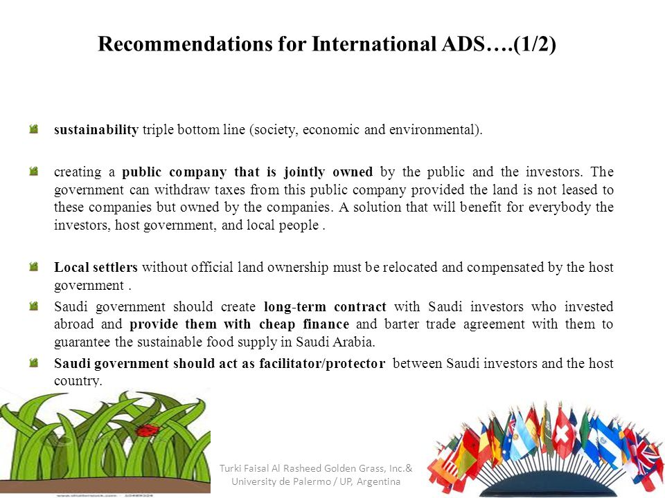 Recommendations for International ADS….(1/2) sustainability triple bottom line (society, economic and environmental).