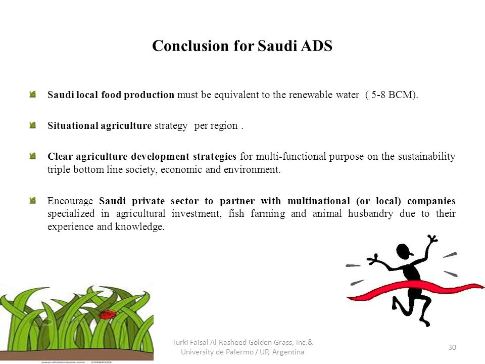 Conclusion for Saudi ADS Saudi local food production must be equivalent to the renewable water ( 5-8 BCM). Situational agriculture strategy per region