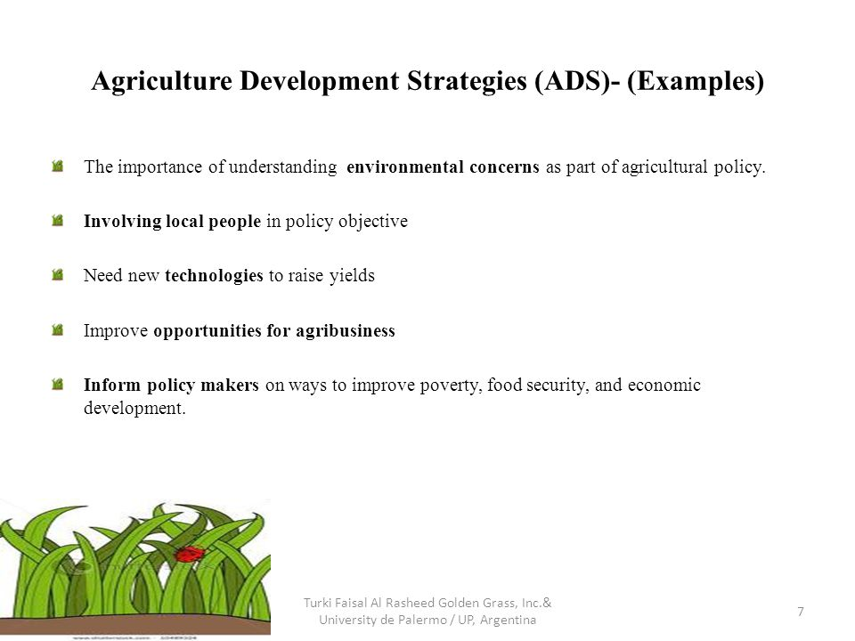 Agriculture Development Strategies (ADS)- (Examples) The importance of understanding environmental concerns as part of agricultural policy. Involving