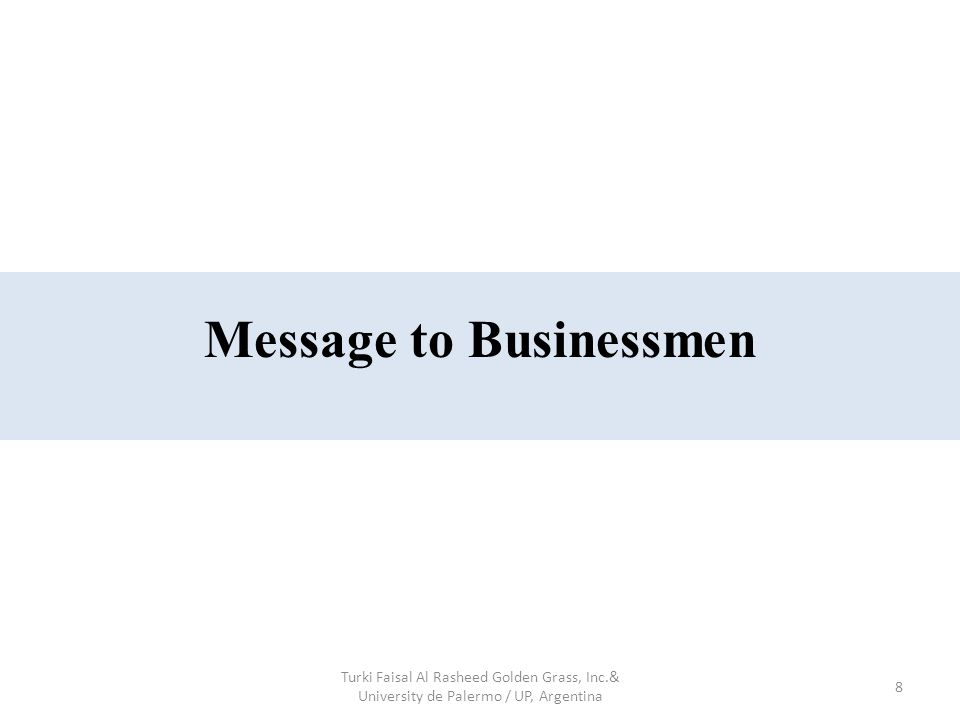 8 Message to Businessmen