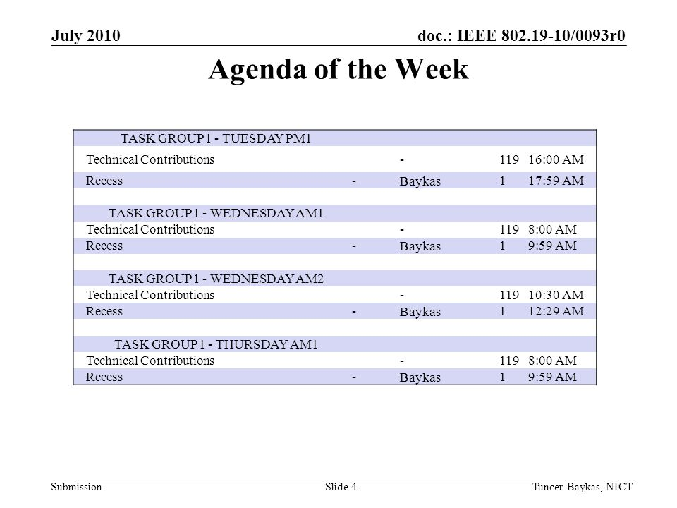 doc.: IEEE 802.19-10/0093r0 Submission Agenda of the Week July 2010 Tuncer Baykas, NICTSlide 4 TASK GROUP 1 - TUESDAY PM1 Technical Contributions -11916:00 AM Recess -Baykas117:59 AM TASK GROUP 1 - WEDNESDAY AM1 Technical Contributions -1198:00 AM Recess -Baykas19:59 AM TASK GROUP 1 - WEDNESDAY AM2 Technical Contributions -11910:30 AM Recess -Baykas112:29 AM TASK GROUP 1 - THURSDAY AM1 Technical Contributions -1198:00 AM Recess -Baykas19:59 AM