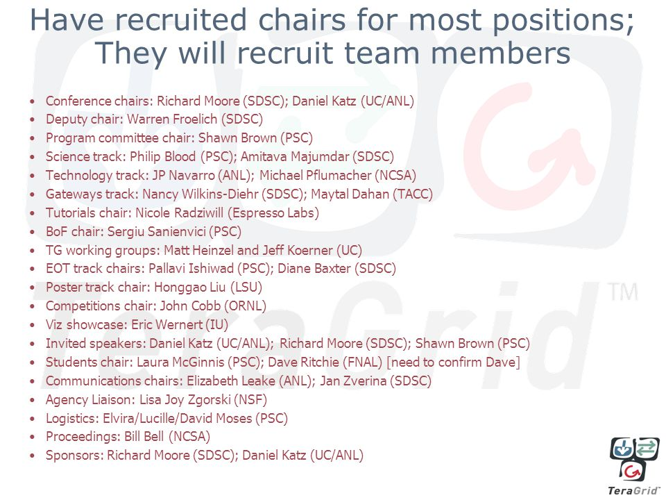 Have recruited chairs for most positions; They will recruit team members Conference chairs: Richard Moore (SDSC); Daniel Katz (UC/ANL) Deputy chair: Warren Froelich (SDSC) Program committee chair: Shawn Brown (PSC) Science track: Philip Blood (PSC); Amitava Majumdar (SDSC) Technology track: JP Navarro (ANL); Michael Pflumacher (NCSA) Gateways track: Nancy Wilkins-Diehr (SDSC); Maytal Dahan (TACC) Tutorials chair: Nicole Radziwill (Espresso Labs) BoF chair: Sergiu Sanienvici (PSC) TG working groups: Matt Heinzel and Jeff Koerner (UC) EOT track chairs: Pallavi Ishiwad (PSC); Diane Baxter (SDSC) Poster track chair: Honggao Liu (LSU) Competitions chair: John Cobb (ORNL) Viz showcase: Eric Wernert (IU) Invited speakers: Daniel Katz (UC/ANL); Richard Moore (SDSC); Shawn Brown (PSC) Students chair: Laura McGinnis (PSC); Dave Ritchie (FNAL) [need to confirm Dave] Communications chairs: Elizabeth Leake (ANL); Jan Zverina (SDSC) Agency Liaison: Lisa Joy Zgorski (NSF) Logistics: Elvira/Lucille/David Moses (PSC) Proceedings: Bill Bell (NCSA) Sponsors: Richard Moore (SDSC); Daniel Katz (UC/ANL)