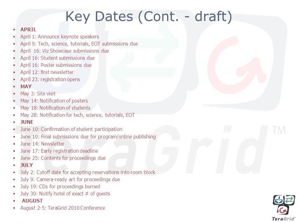 Key Dates (Cont.
