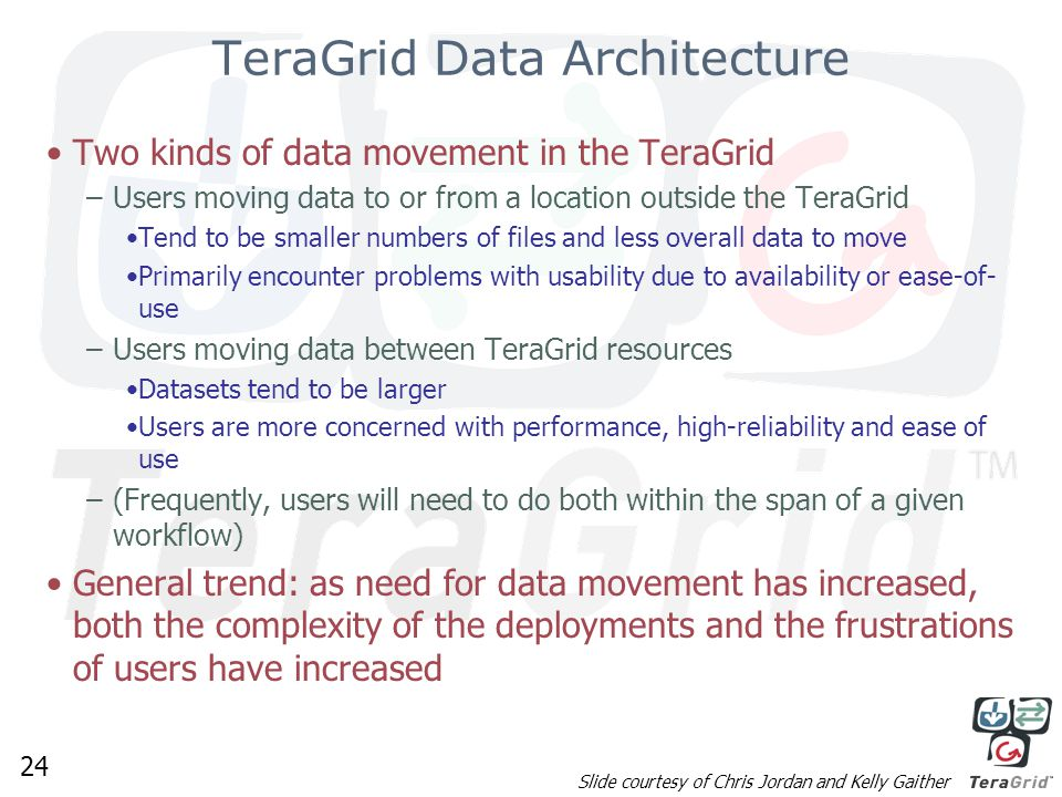 24 TeraGrid Data Architecture Two kinds of data movement in the TeraGrid –Users moving data to or from a location outside the TeraGrid Tend to be smaller numbers of files and less overall data to move Primarily encounter problems with usability due to availability or ease-of- use –Users moving data between TeraGrid resources Datasets tend to be larger Users are more concerned with performance, high-reliability and ease of use –(Frequently, users will need to do both within the span of a given workflow) General trend: as need for data movement has increased, both the complexity of the deployments and the frustrations of users have increased Slide courtesy of Chris Jordan and Kelly Gaither