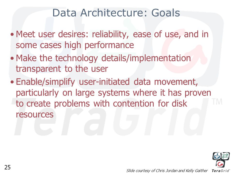 25 Data Architecture: Goals Meet user desires: reliability, ease of use, and in some cases high performance Make the technology details/implementation transparent to the user Enable/simplify user-initiated data movement, particularly on large systems where it has proven to create problems with contention for disk resources Slide courtesy of Chris Jordan and Kelly Gaither