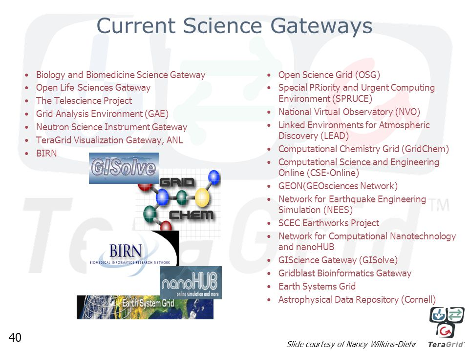 40 Current Science Gateways Biology and Biomedicine Science Gateway Open Life Sciences Gateway The Telescience Project Grid Analysis Environment (GAE) Neutron Science Instrument Gateway TeraGrid Visualization Gateway, ANL BIRN Open Science Grid (OSG) Special PRiority and Urgent Computing Environment (SPRUCE) National Virtual Observatory (NVO) Linked Environments for Atmospheric Discovery (LEAD) Computational Chemistry Grid (GridChem) Computational Science and Engineering Online (CSE-Online) GEON(GEOsciences Network) Network for Earthquake Engineering Simulation (NEES) SCEC Earthworks Project Network for Computational Nanotechnology and nanoHUB GIScience Gateway (GISolve) Gridblast Bioinformatics Gateway Earth Systems Grid Astrophysical Data Repository (Cornell) Slide courtesy of Nancy Wilkins-Diehr