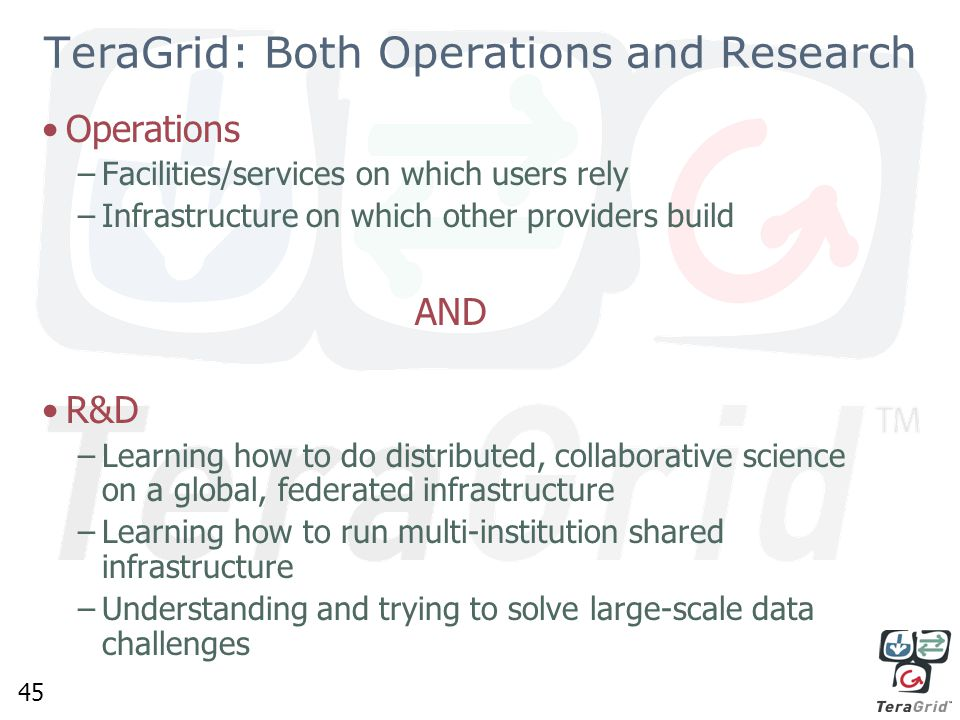 45 TeraGrid: Both Operations and Research Operations –Facilities/services on which users rely –Infrastructure on which other providers build AND R&D –Learning how to do distributed, collaborative science on a global, federated infrastructure –Learning how to run multi-institution shared infrastructure –Understanding and trying to solve large-scale data challenges