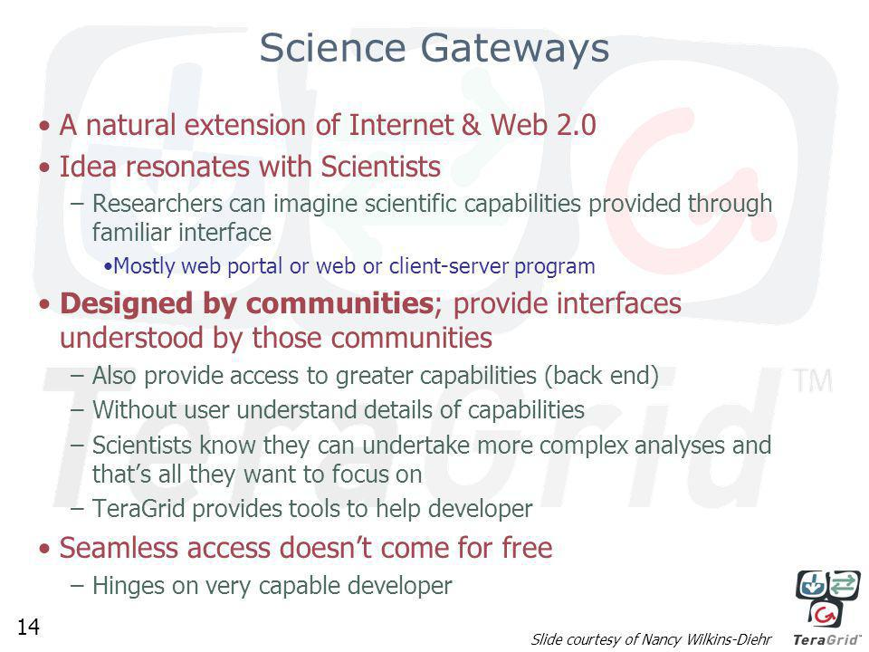 14 Science Gateways A natural extension of Internet & Web 2.0 Idea resonates with Scientists –Researchers can imagine scientific capabilities provided through familiar interface Mostly web portal or web or client-server program Designed by communities; provide interfaces understood by those communities –Also provide access to greater capabilities (back end) –Without user understand details of capabilities –Scientists know they can undertake more complex analyses and that's all they want to focus on –TeraGrid provides tools to help developer Seamless access doesn't come for free –Hinges on very capable developer Slide courtesy of Nancy Wilkins-Diehr