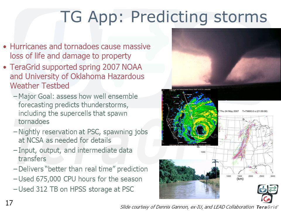 17 TG App: Predicting storms Hurricanes and tornadoes cause massive loss of life and damage to property TeraGrid supported spring 2007 NOAA and University of Oklahoma Hazardous Weather Testbed –Major Goal: assess how well ensemble forecasting predicts thunderstorms, including the supercells that spawn tornadoes –Nightly reservation at PSC, spawning jobs at NCSA as needed for details –Input, output, and intermediate data transfers –Delivers better than real time prediction –Used 675,000 CPU hours for the season –Used 312 TB on HPSS storage at PSC Slide courtesy of Dennis Gannon, ex-IU, and LEAD Collaboration