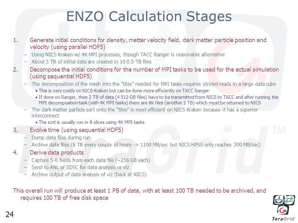 24 ENZO Calculation Stages 1.Generate initial conditions for density, matter velocity field, dark matter particle position and velocity (using parallel HDF5) –Using NICS Kraken w/ 4K MPI processes, though TACC Ranger is reasonable alternative –About 5 TB of initial data are created in 10 0.5-TB files 2.Decompose the initial conditions for the number of MPI tasks to be used for the actual simulation (using sequential HDF5) –The decomposition of the mesh into the tiles needed for MPI tasks requires strided reads in a large data cube This is very costly on NICS Kraken but can be done more efficiently on TACC Ranger If done on Ranger, then 2 TB of data (4 512-GB files) have to be transmitted from NICS to TACC and after running the MPI decomposition task (with 4K MPI tasks) there are 8K files (another 2 TB) which must be returned to NICS –The dark matter particle sort onto the tiles is most efficient on NICS Kraken because it has a superior interconnect The sort is usually run in 8 slices using 4K MPI tasks 3.Evolve time (using sequential HDF5) –Dump data files during run –Archive data files (8 TB every couple of hours -> 1100 MB/sec but NICS HPSS only reaches 300 MB/sec) 4.Derive data products –Capture 5-6 fields from each data file (~256 GB each) –Send to ANL or SDSC for data analysis or viz –Archive output of data analysis of viz (back at NICS) This overall run will produce at least 1 PB of data, with at least 100 TB needed to be archived, and requires 100 TB of free disk space