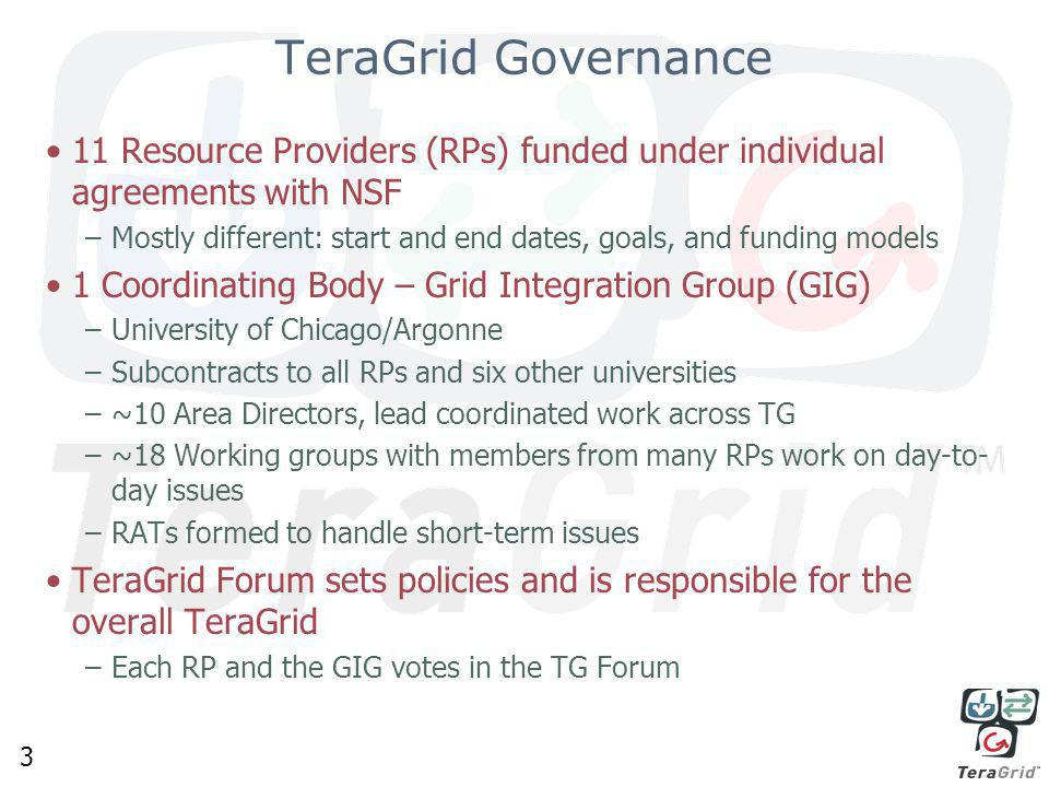 3 TeraGrid Governance 11 Resource Providers (RPs) funded under individual agreements with NSF –Mostly different: start and end dates, goals, and funding models 1 Coordinating Body – Grid Integration Group (GIG) –University of Chicago/Argonne –Subcontracts to all RPs and six other universities –~10 Area Directors, lead coordinated work across TG –~18 Working groups with members from many RPs work on day-to- day issues –RATs formed to handle short-term issues TeraGrid Forum sets policies and is responsible for the overall TeraGrid –Each RP and the GIG votes in the TG Forum