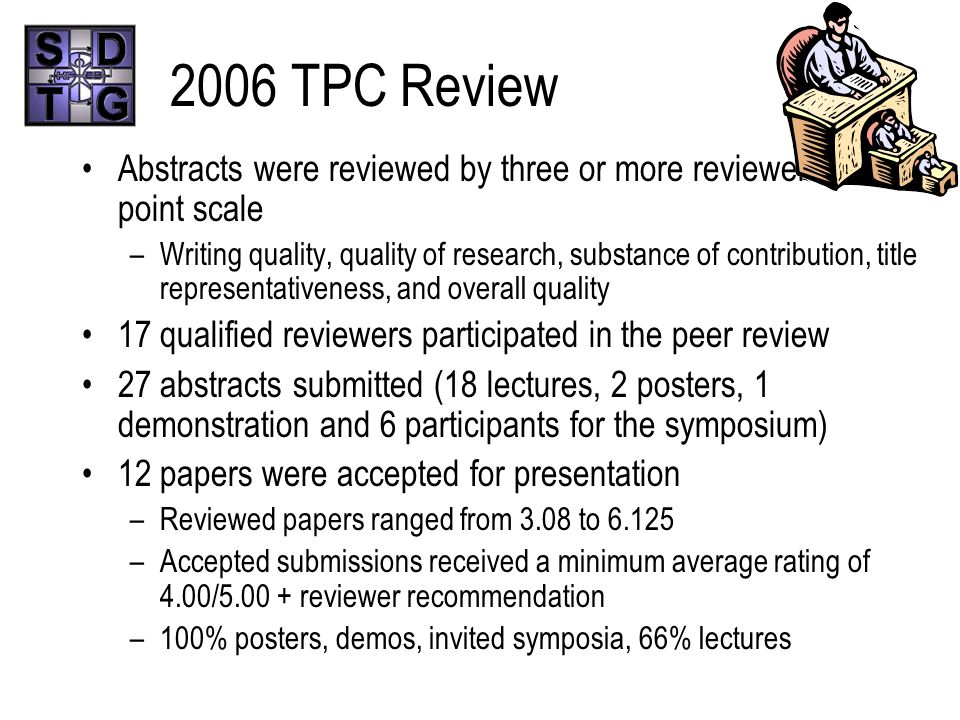 2006 TPC Review Abstracts were reviewed by three or more reviewers on a 7 point scale –Writing quality, quality of research, substance of contribution, title representativeness, and overall quality 17 qualified reviewers participated in the peer review 27 abstracts submitted (18 lectures, 2 posters, 1 demonstration and 6 participants for the symposium) 12 papers were accepted for presentation –Reviewed papers ranged from 3.08 to 6.125 –Accepted submissions received a minimum average rating of 4.00/5.00 + reviewer recommendation –100% posters, demos, invited symposia, 66% lectures