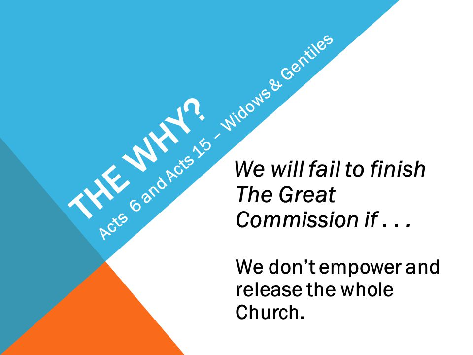 THE WHY. We will fail to finish The Great Commission if...