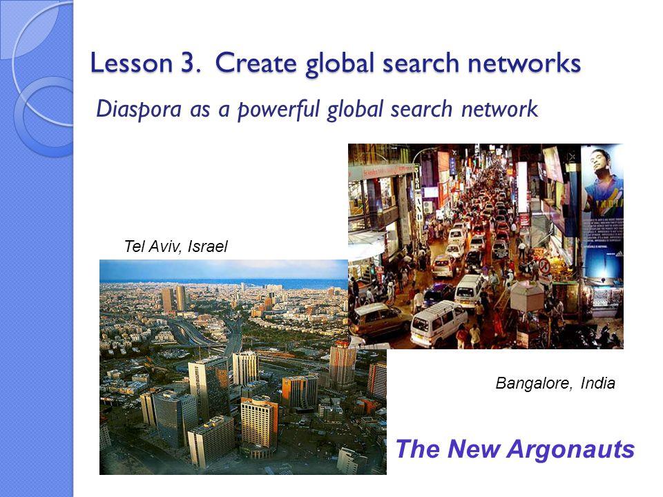 Lesson 3. Create global search networks Diaspora as a powerful global search network The New Argonauts Bangalore, India Tel Aviv, Israel