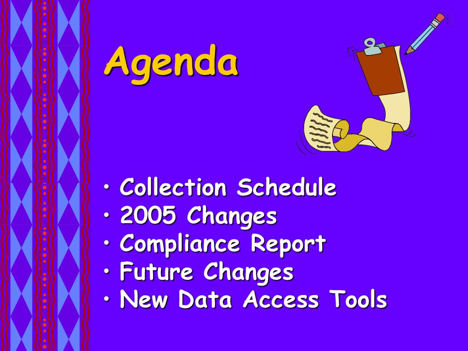 Agenda Collection ScheduleCollection Schedule 2005 Changes2005 Changes Compliance ReportCompliance Report Future ChangesFuture Changes New Data Access ToolsNew Data Access Tools