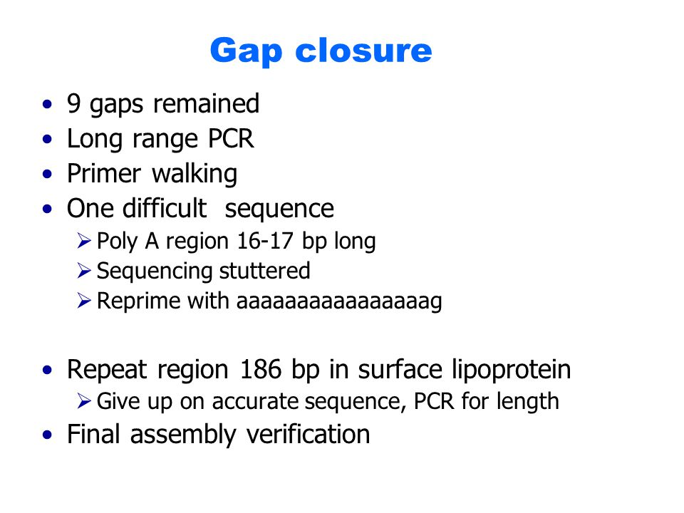 Gap closure 9 gaps remained Long range PCR Primer walking One difficult sequence  Poly A region 16-17 bp long  Sequencing stuttered  Reprime with aaaaaaaaaaaaaaaag Repeat region 186 bp in surface lipoprotein  Give up on accurate sequence, PCR for length Final assembly verification