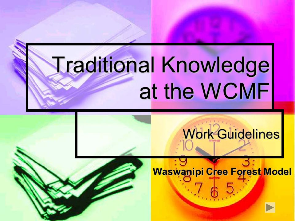 Traditional Knowledge at the WCMF Work Guidelines Waswanipi Cree Forest Model