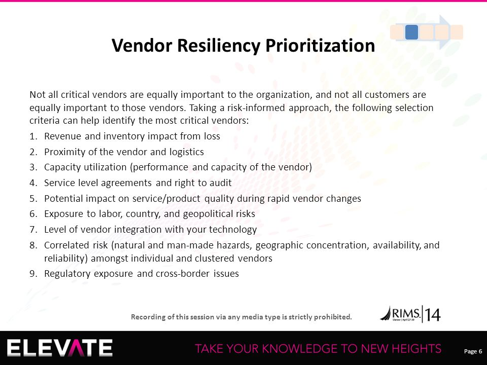 Page 6 Recording of this session via any media type is strictly prohibited. Vendor Resiliency Prioritization Not all critical vendors are equally impo