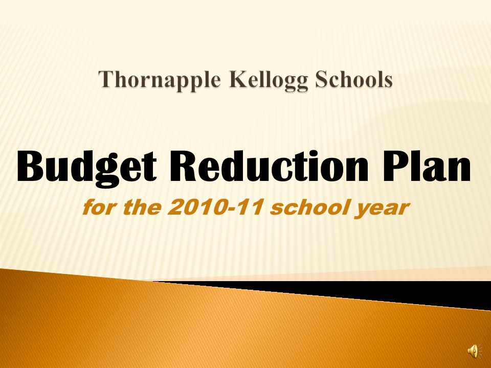 Budget Reduction Plan for the 2010-11 school year