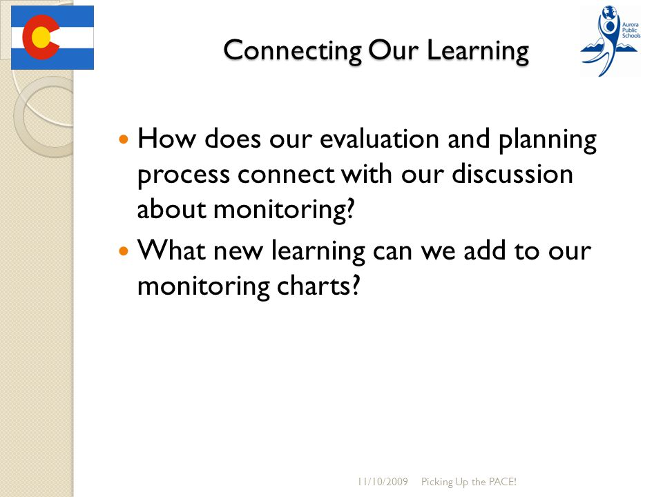Connecting Our Learning How does our evaluation and planning process connect with our discussion about monitoring? What new learning can we add to our