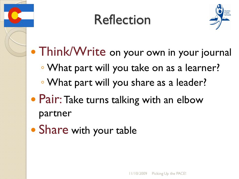 Reflection Think/Write on your own in your journal ◦ What part will you take on as a learner? ◦ What part will you share as a leader? Pair : Take turn