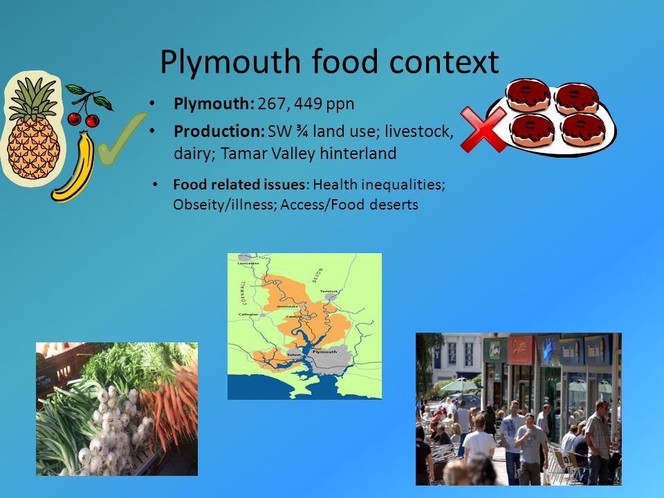 Plymouth food context Plymouth: 267, 449 ppn Production: SW ¾ land use; livestock, dairy; Tamar Valley hinterland Food related issues: Health inequalities; Obseity/illness; Access/Food deserts