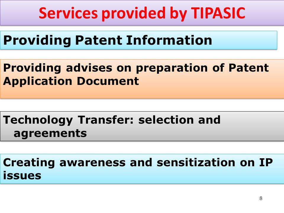 8 Services provided by TIPASIC Providing Patent Information Technology Transfer: selection and agreements Providing advises on preparation of Patent Application Document Creating awareness and sensitization on IP issues