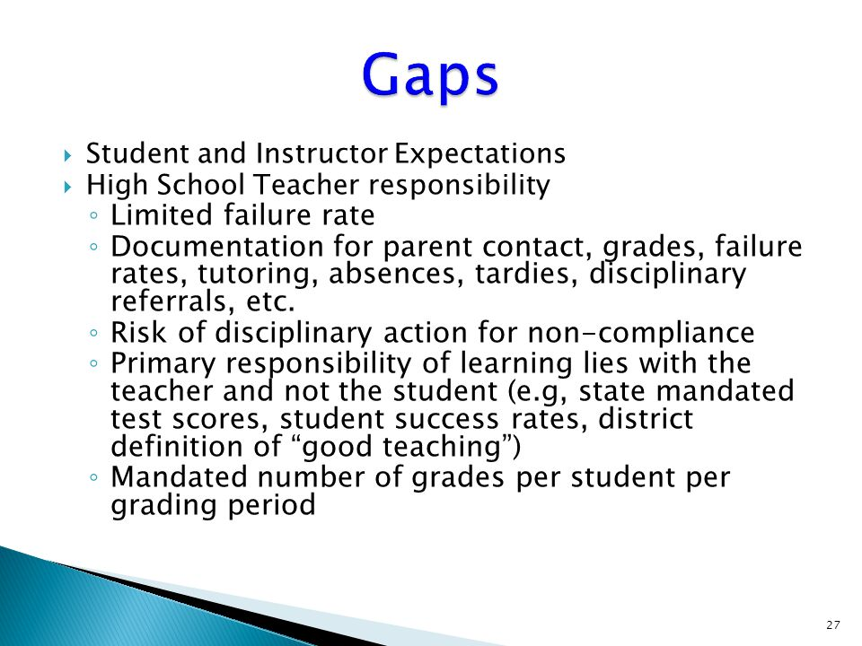 Student and Instructor Expectations  High School Teacher responsibility ◦ Limited failure rate ◦ Documentation for parent contact, grades, failure