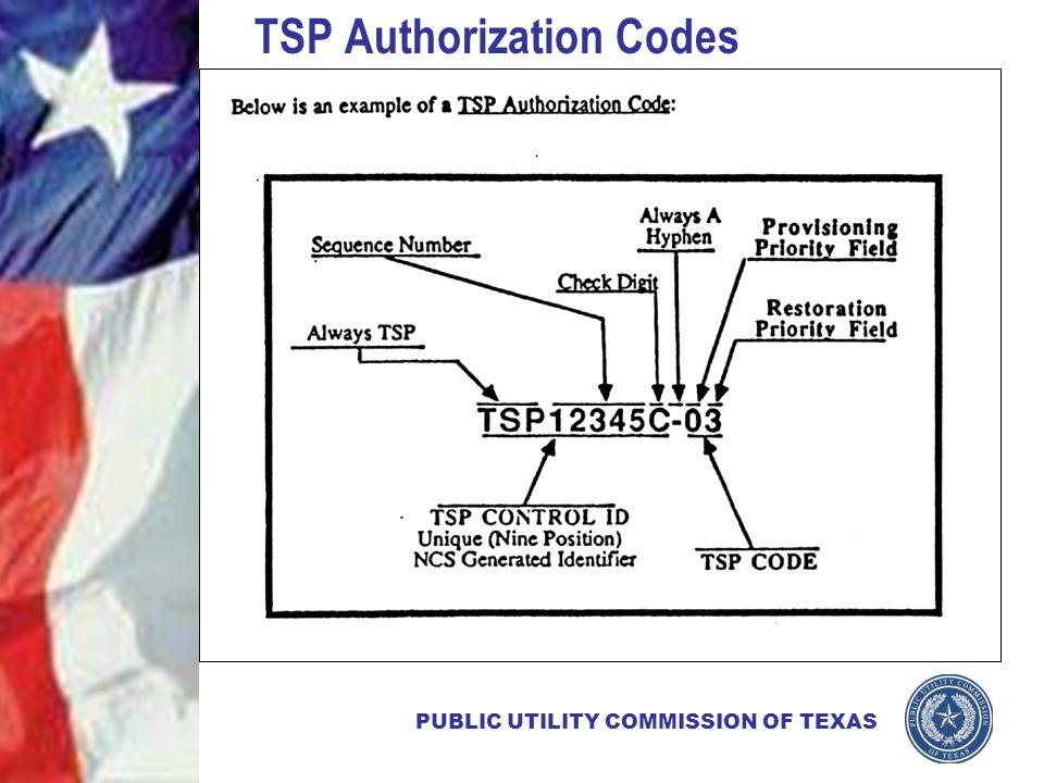 PUBLIC UTILITY COMMISSION OF TEXAS TSP Authorization Codes