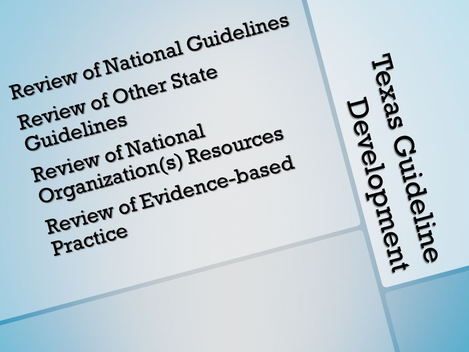 Texas Guideline Development Review of National Guidelines Review of Other State Guidelines Review of National Organization(s) Resources Review of Evid