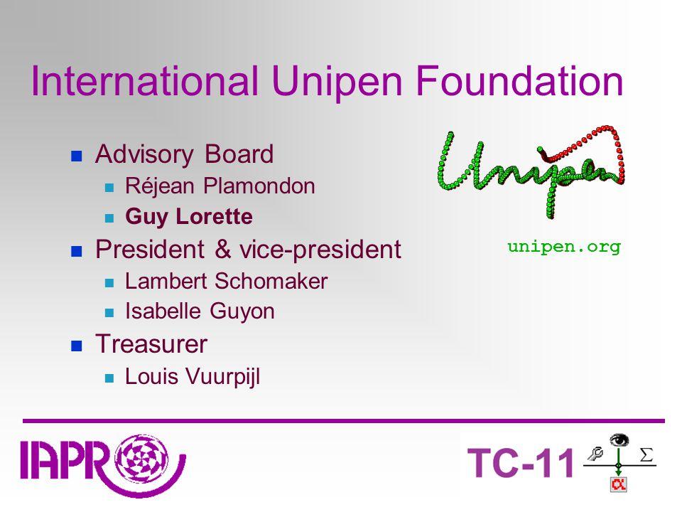 International Unipen Foundation Advisory Board Réjean Plamondon Guy Lorette President & vice-president Lambert Schomaker Isabelle Guyon Treasurer Louis Vuurpijl unipen.org