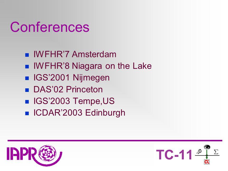Conferences IWFHR'7 Amsterdam IWFHR'8 Niagara on the Lake IGS'2001 Nijmegen DAS'02 Princeton IGS'2003 Tempe,US ICDAR'2003 Edinburgh