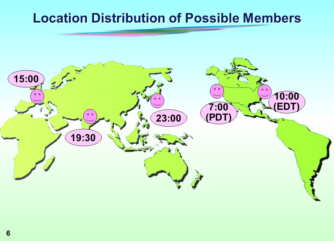 6 Location Distribution of Possible Members 23:00 19:30 15:00 10:00 (EDT) 7:00 (PDT)