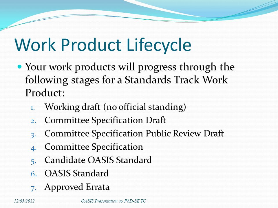 Work Product Lifecycle Your work products will progress through the following stages for a Standards Track Work Product: 1. Working draft (no official