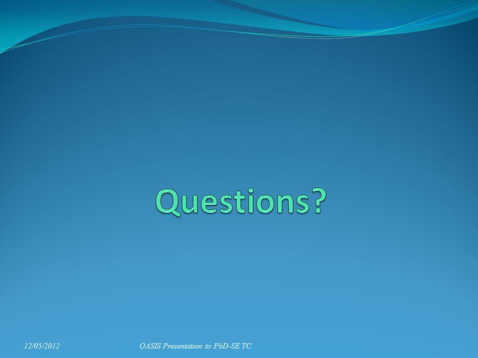 12/05/2012OASIS Presentation to PbD-SE TC