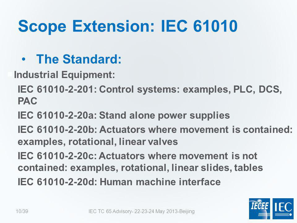 Scope Extension: IEC 61010 The Standard:  Industrial Equipment: IEC 61010-2-201: Control systems: examples, PLC, DCS, PAC IEC 61010-2-20a: Stand alon