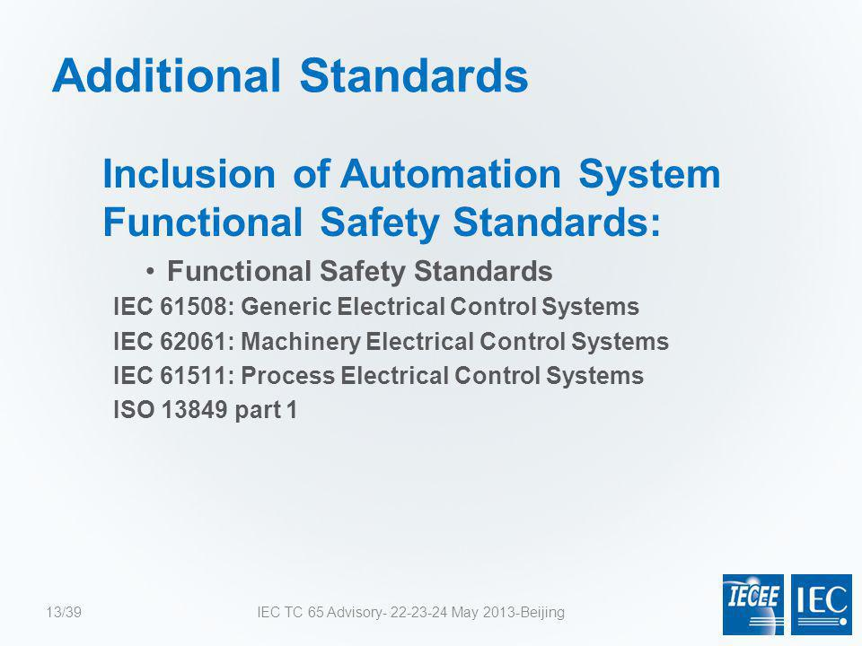 Additional Standards Inclusion of Automation System Functional Safety Standards: Functional Safety Standards IEC 61508: Generic Electrical Control Sys