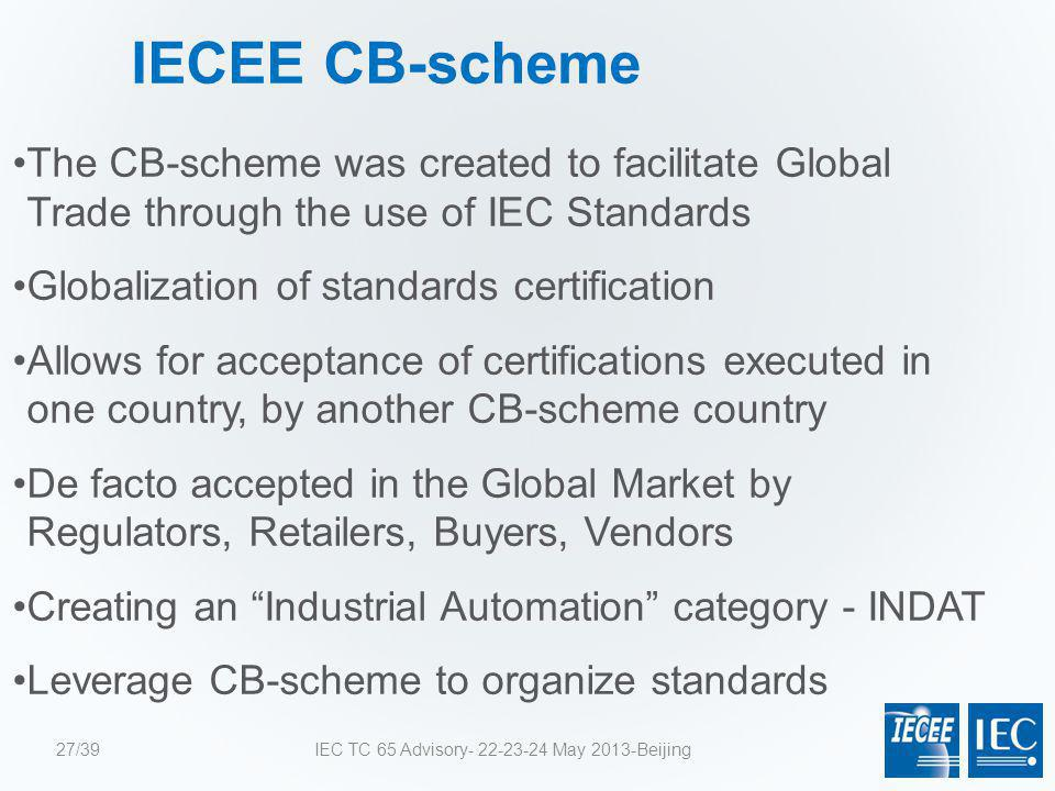 IECEE CB-scheme The CB-scheme was created to facilitate Global Trade through the use of IEC Standards Globalization of standards certification Allows