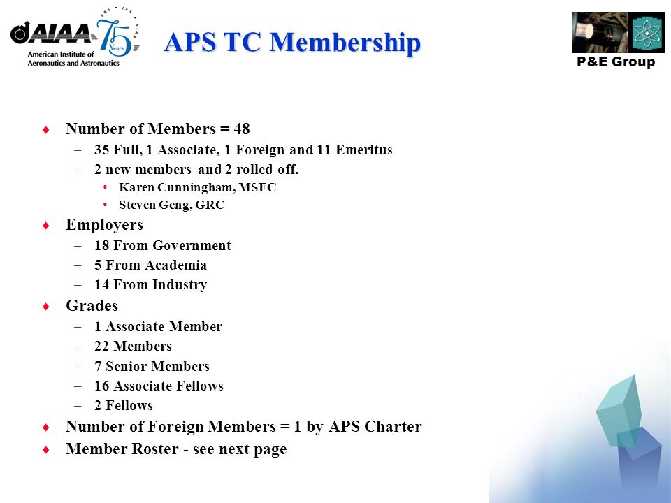 P&E Group APS TC Membership  Number of Members = 48 –35 Full, 1 Associate, 1 Foreign and 11 Emeritus –2 new members and 2 rolled off.