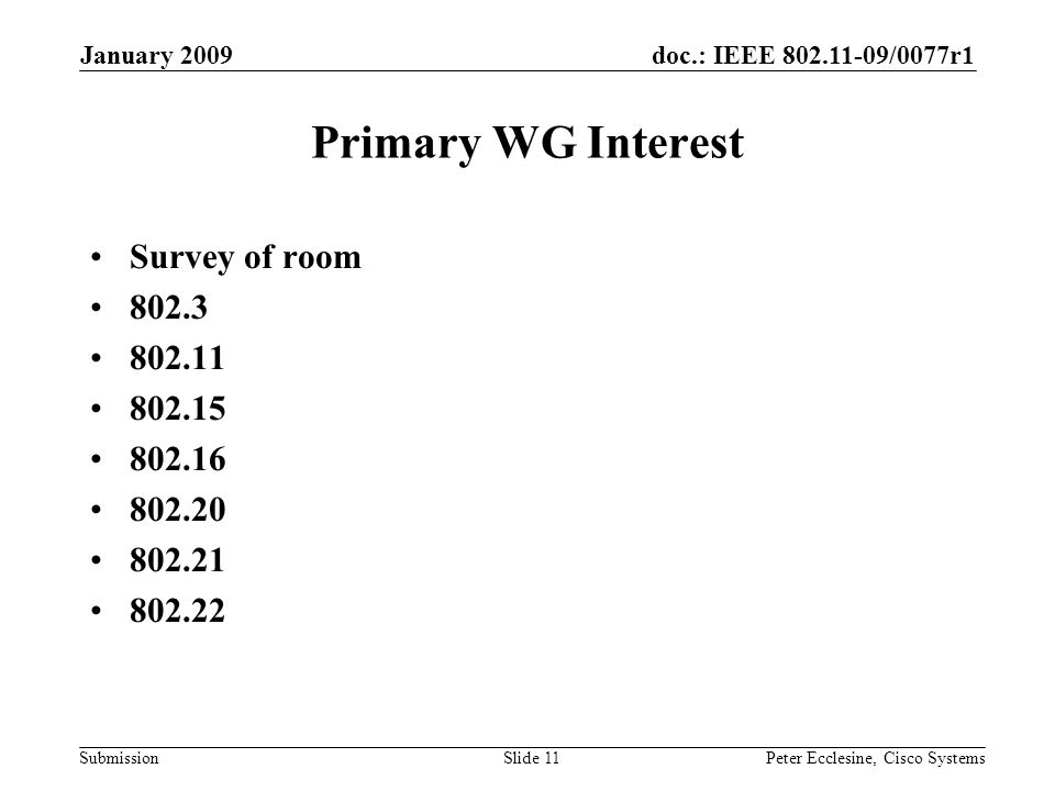 doc.: IEEE 802.11-09/0077r1 Submission January 2009 Peter Ecclesine, Cisco SystemsSlide 11 Primary WG Interest Survey of room 802.3 802.11 802.15 802.16 802.20 802.21 802.22