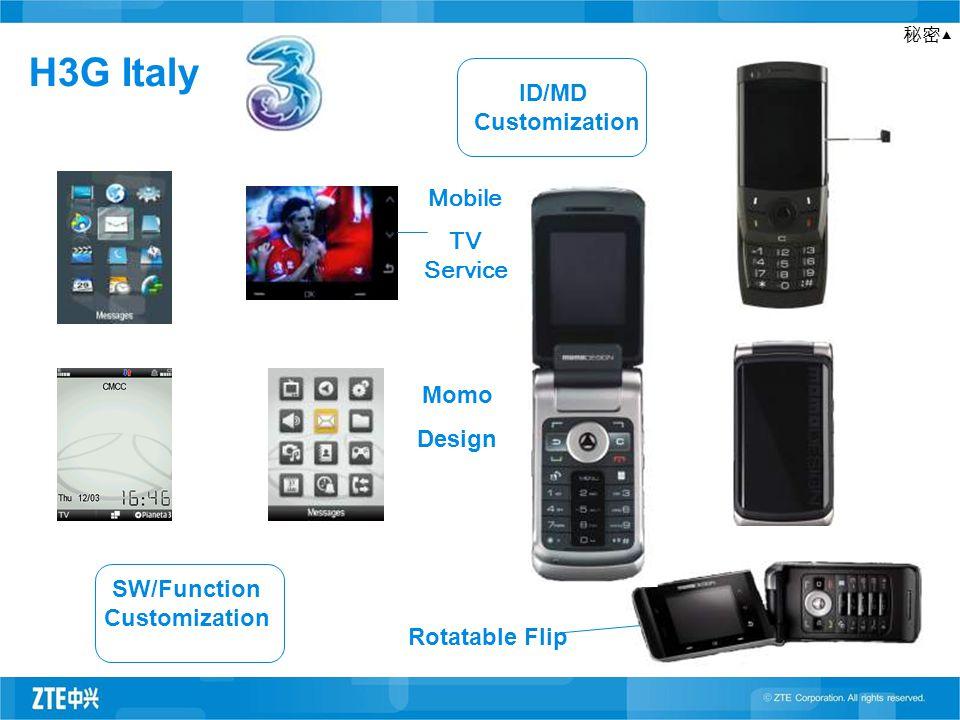 秘密▲ H3G Italy SW/Function Customization ID/MD Customization Rotatable Flip Mobile TV Service Momo Design