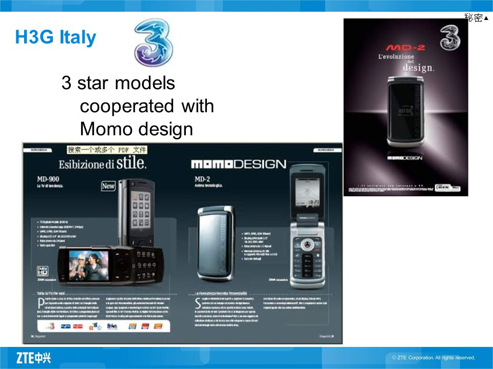 秘密▲ H3G Italy 3 star models cooperated with Momo design