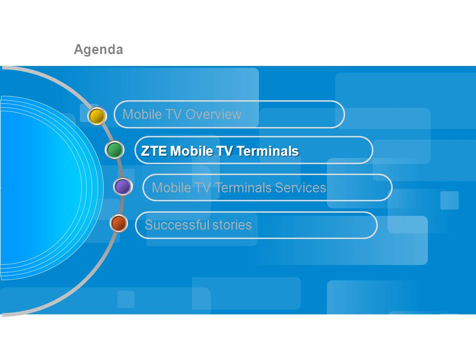 Agenda Mobile TV Terminals Services Mobile TV Overview ZTE Mobile TV Terminals Successful stories