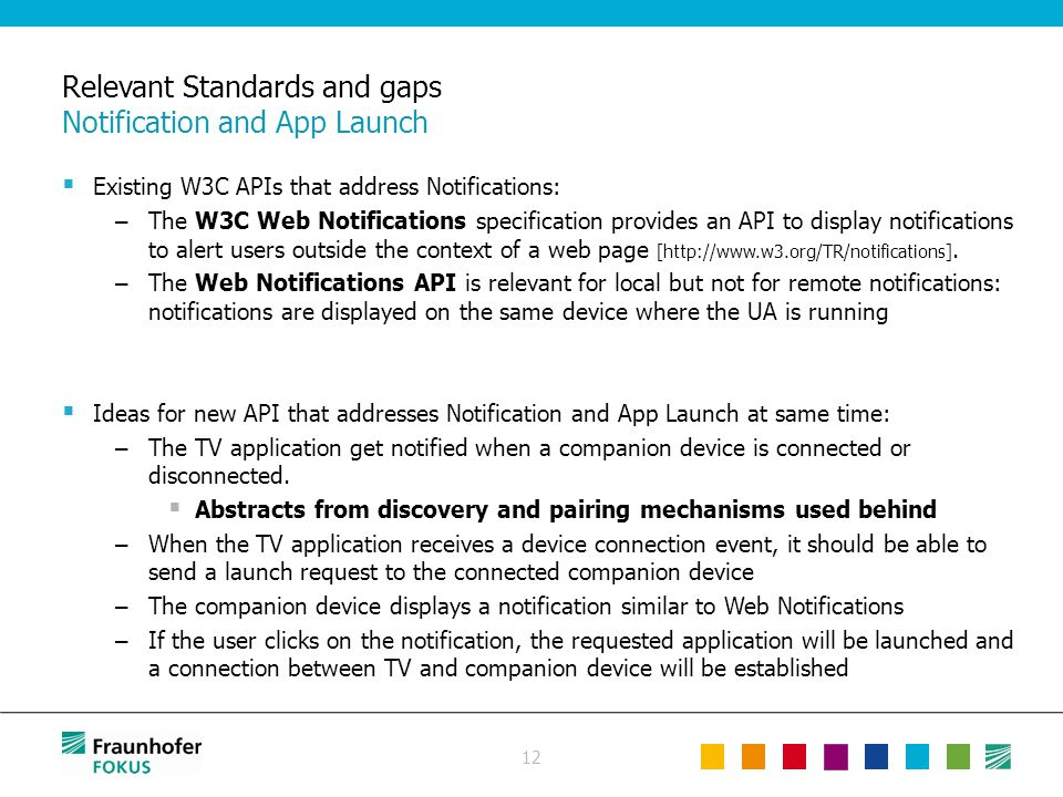 12 Relevant Standards and gaps Notification and App Launch  Existing W3C APIs that address Notifications: – The W3C Web Notifications specification p