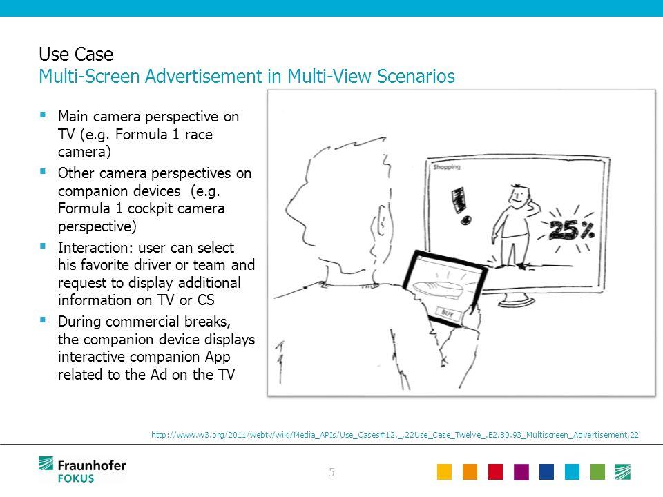5 Use Case Multi-Screen Advertisement in Multi-View Scenarios  Main camera perspective on TV (e.g. Formula 1 race camera)  Other camera perspectives