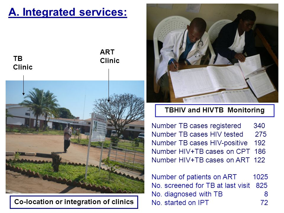 A. Integrated services: TB Clinic ART Clinic Number TB cases registered 340 Number TB cases HIV tested 275 Number TB cases HIV-positive 192 Number HIV