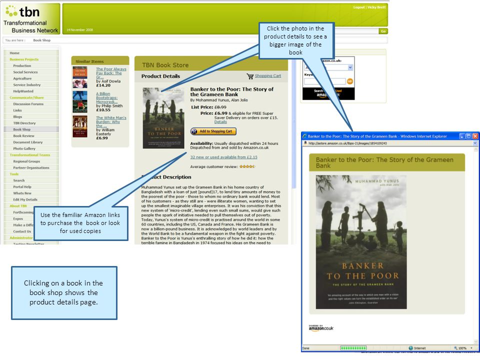 Use the familiar Amazon links to purchase the book or look for used copies Clicking on a book in the book shop shows the product details page.