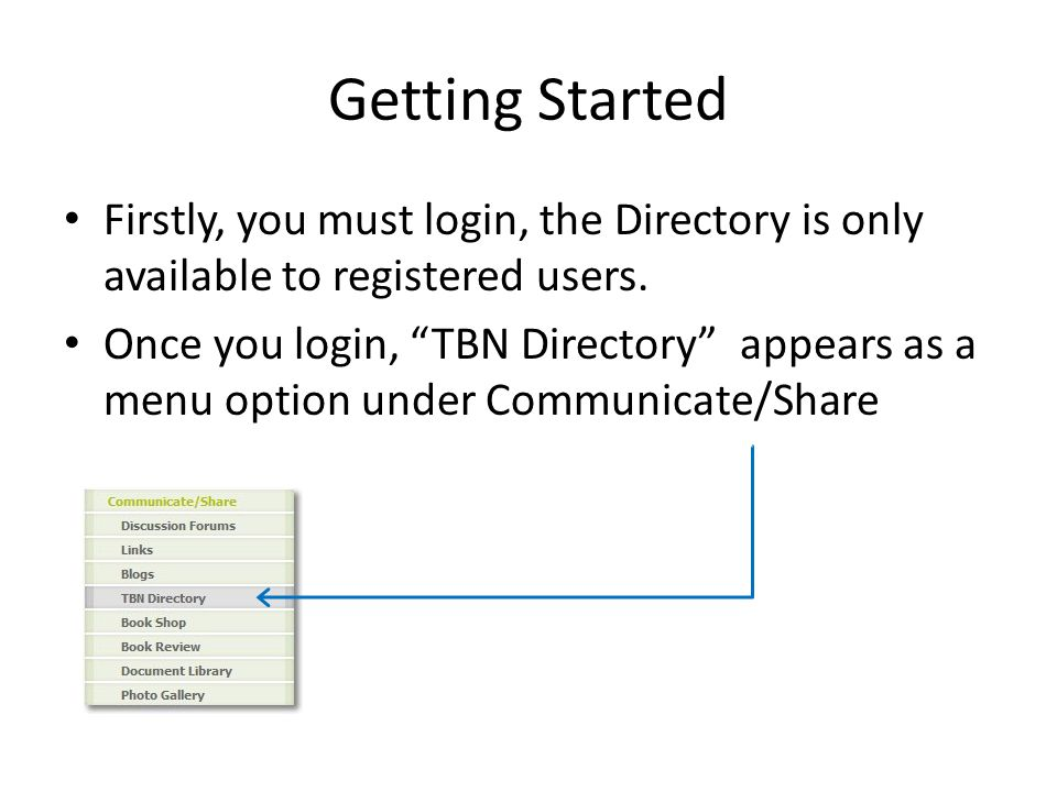Getting Started Firstly, you must login, the Directory is only available to registered users.